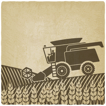 harvest field: combine harvester in field old background - vector illustration.