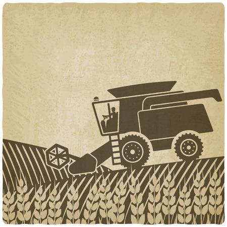 champ de mais: moissonneuse-batteuse dans un champ vieux fond - illustration vectorielle.