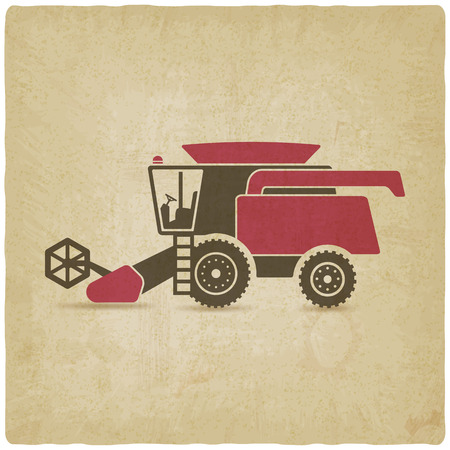 harvesting: combine harvester farm machinery old background - vector illustration.