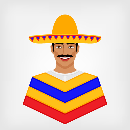 latin: Mexican man in traditional clothes. vector illustration