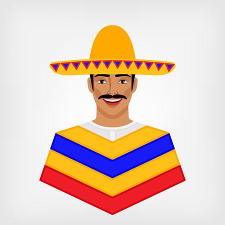 caras felices: Mexicano en la ropa tradicional. ilustración vectorial Vectores