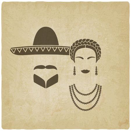 traje mexicano: el hombre y la mujer mexicana viejo fondo. ilustración vectorial