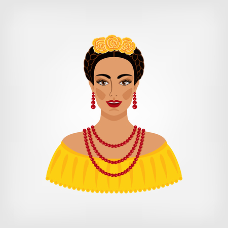mexicans: Mexican woman in traditional clothes. vector illustration
