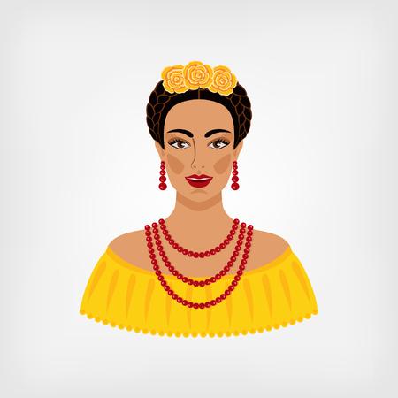 traje mexicano: mujer mexicana en la ropa tradicional. ilustración vectorial
