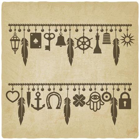 Charme Armbänder mit Symbolen für Glück alten Hintergrund. Vektor-Illustration
