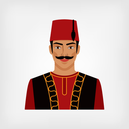 fez: Turkish man in national suit. vector illustration