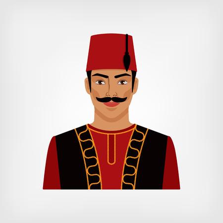 cartoon hat: Turkish man in national suit. vector illustration