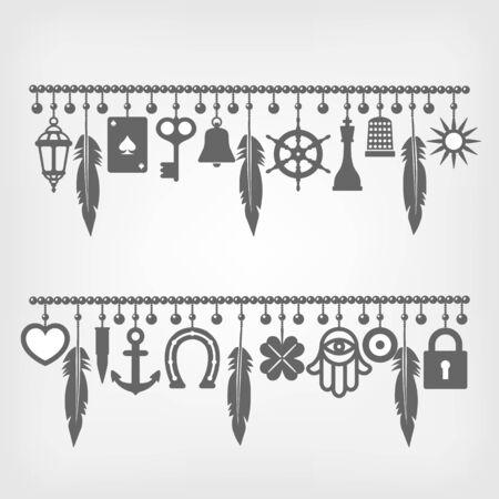 Charme Armbänder mit Symbolen für Glück. Vektor-Illustration