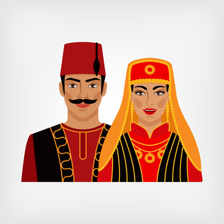 fez: Turkish man and woman in national suit. vector illustration