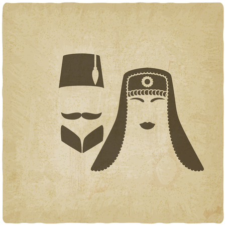 fez: Turkish man and woman old background. vector illustration