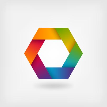 rainbow abstract: abstract rainbow hexagon. vector illustration - eps 10 Illustration