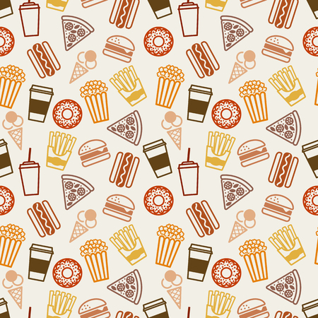 fry: Fast food seamless pattern. vector illustration - eps 8