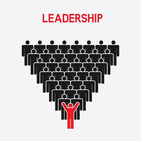 black business men: Leadership and teamwork concept. one man with raised hands - vector illustration. eps 8 Illustration