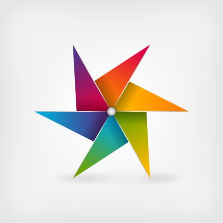 wind wheel: rainbow pinwheel symbol. vector illustration - eps 10