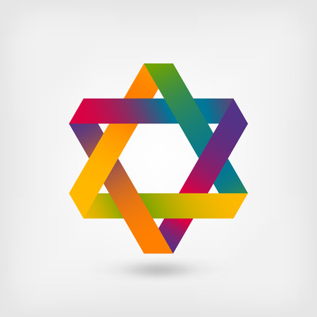 jewish star: six-pointed star symbol. vector illustration - eps 10 Illustration
