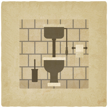 toilet bowl: interior with high tank toilet bowl old background.