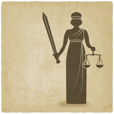 advocate symbol: Themis with sword and scales old background Illustration