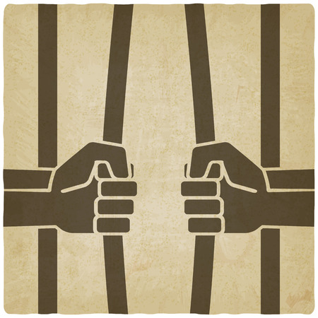 breaking law: freedom concept. hands breaking prison bars old background Illustration