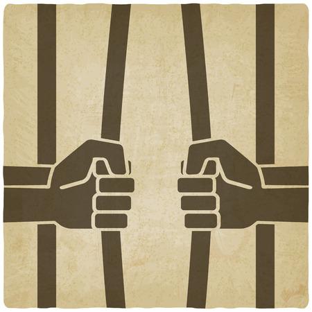 freedom concept. hands breaking prison bars old background Illustration
