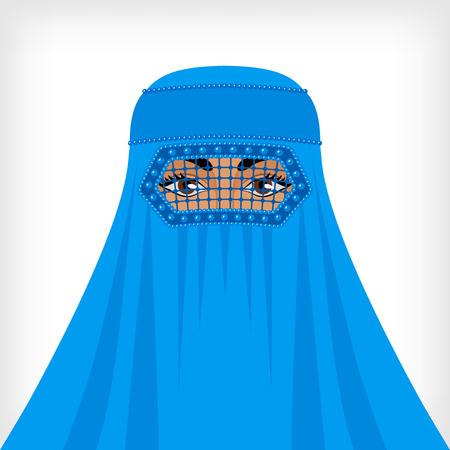niqab: Muslim woman in blue burqa
