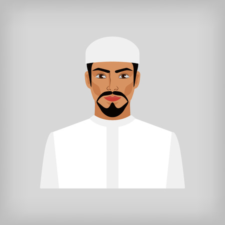 white clothes: Muslim man in traditional white clothes. vector illustration