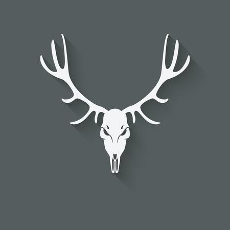 deer skull: deer skull silhouette. vector illustration Illustration
