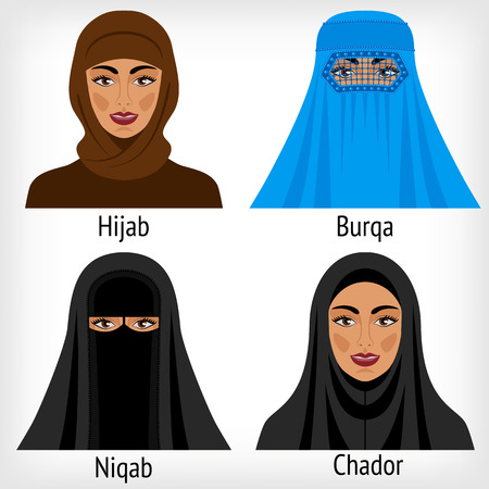 headwear: Muslim women in traditional headwear. vector illustration
