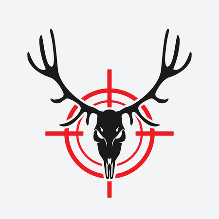 deer skull on red target. hunting club design.