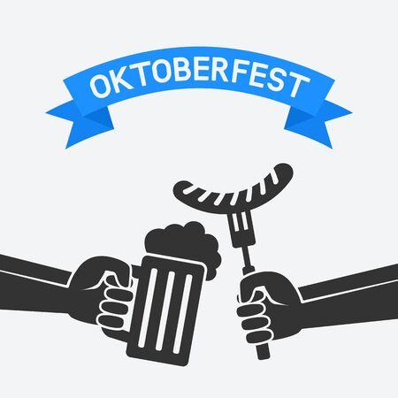 lager beer: Oktoberfest concept. Hand with beer mug and sausage. vector illustration - eps 8