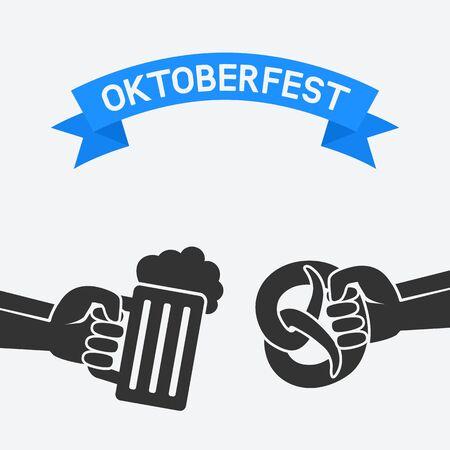 lager beer: Oktoberfest concept. Hand with beer mug and pretzel. vector illustration - eps 8