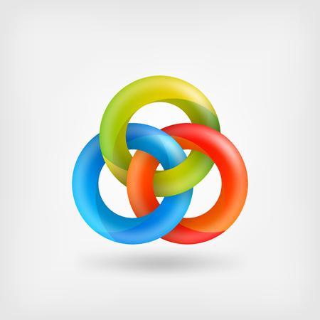 drie abstracte in elkaar grijpende ringen.