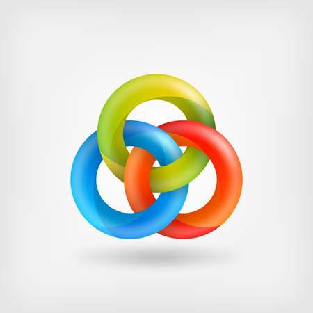 reliable: three abstract interlocking rings. Illustration