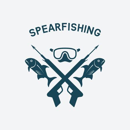 speargun: spearfishing club concept design. underwater hunting. vector illustration - eps 8 Illustration