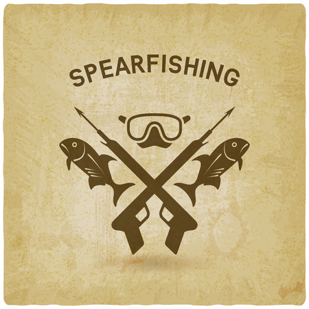 speargun: spearfishing club concept design old background. underwater hunting.