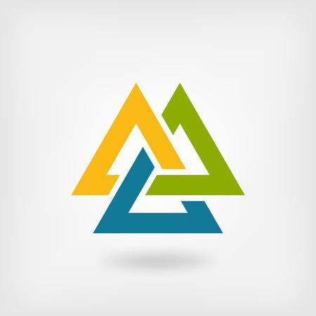 interlocked: tricolor valknut symbol. interlocked triangles. Illustration