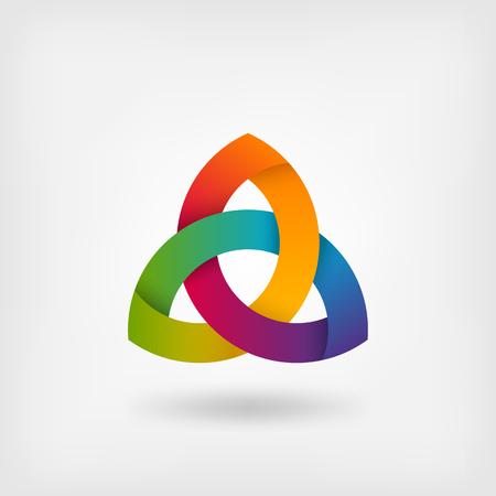 triquetra symbol in rainbow colors. Illustration
