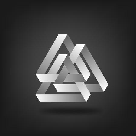 logos de empresas: tres de plata entrelazado triángulos.