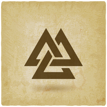 valknut symbol. interlocked triangles old background.