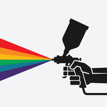 hand with spray gun. Illustration