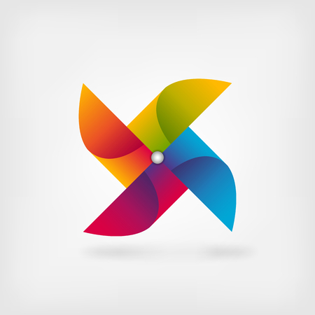wind mill toy: pinwheel symbol in rainbow colors. Illustration