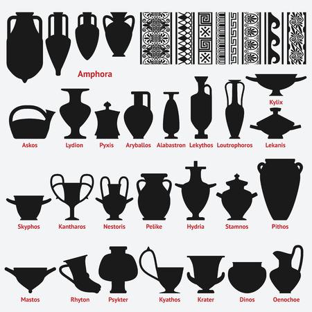 greek pot: Set di vasi greci antichi e decorazione di confine modelli senza soluzione. illustrazione vettoriale - eps 8 Vettoriali