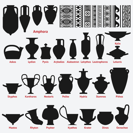 Set of antique Greek vases and border decoration seamless patterns. vector illustration - eps 8