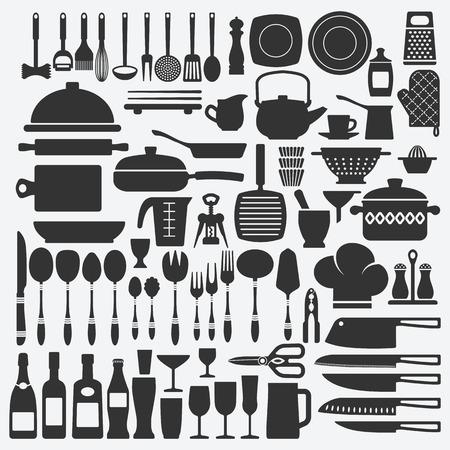 cookware: Juego de cocina utensilios de cocina. ilustración vectorial - EPS 8 Vectores
