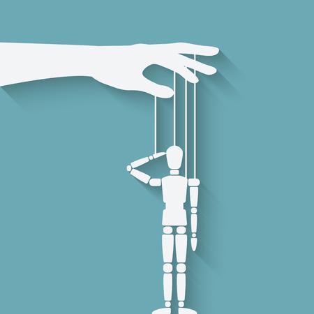 marioneta de madera: la mano con la marioneta. ilustración vectorial - EPS 10