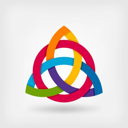 abstract symbool triquetra in regenboogkleuren. vector illustratie - eps 10
