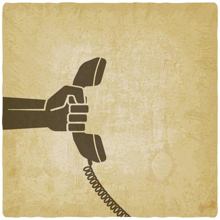 handset: hand with telephone handset. vector illustration - eps 10