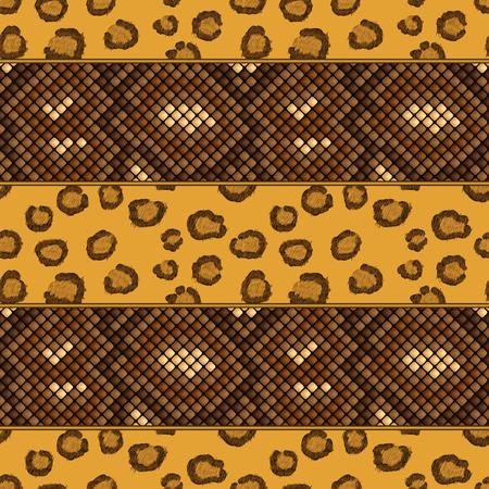 luipaard en slang huid naadloos patroon. vector illustratie - eps 8