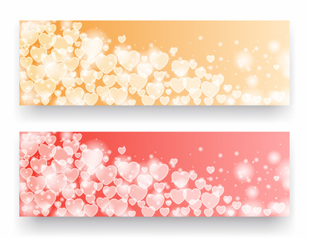 red gold: Valentine day banners with hearts. illustration Illustration