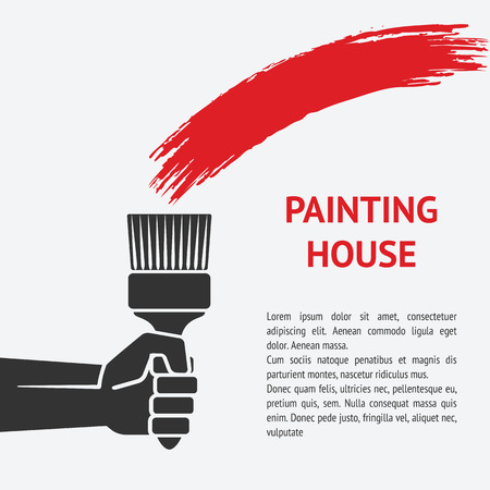 house painter: hand with brush. painting house concept. vector illustration - eps 8 Illustration