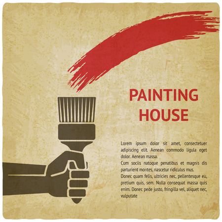 renovating: Hand with brush. painting house concept. vector illustration